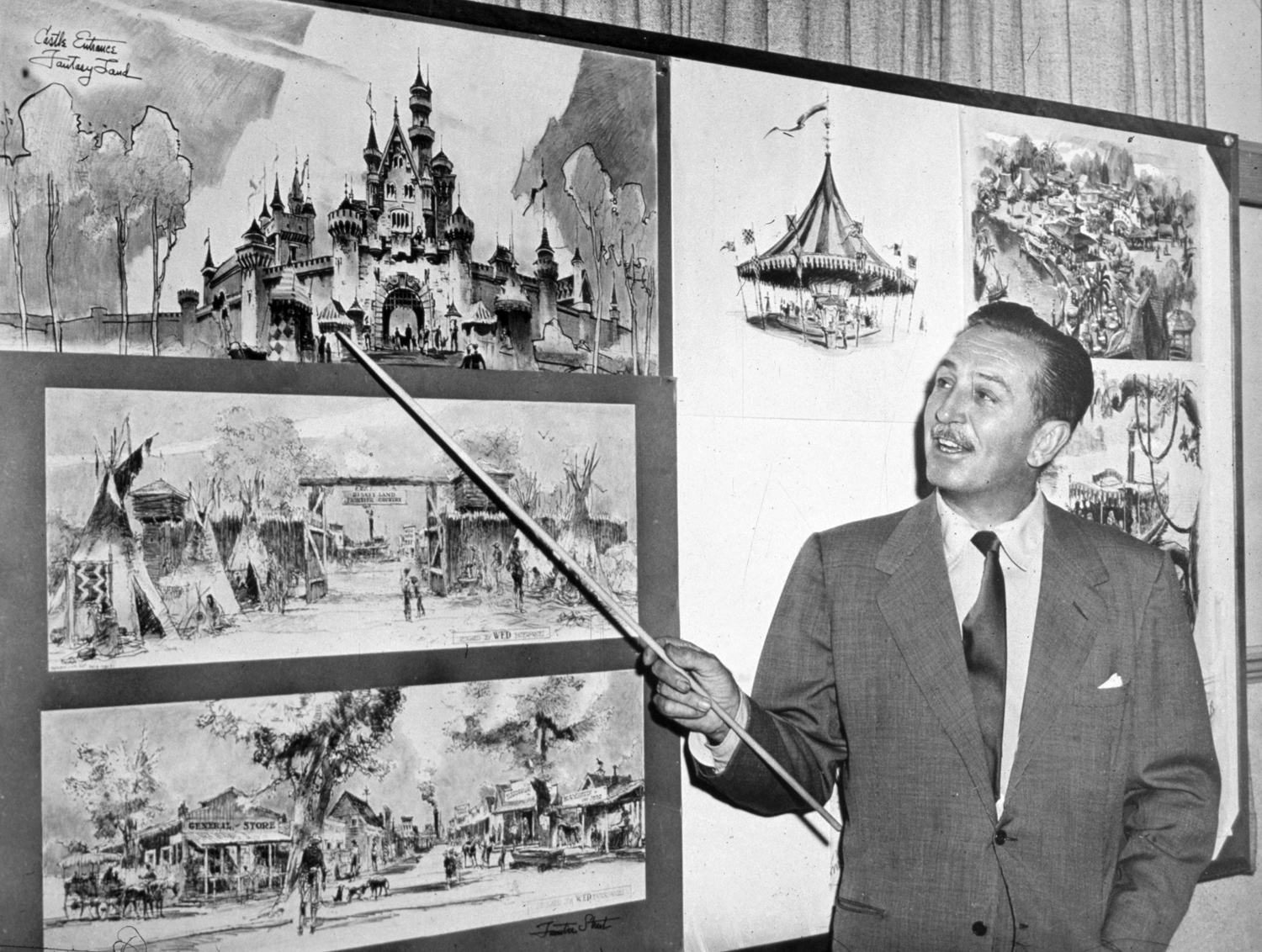 walt disney with the disneyland plans