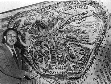 and walt disney with disneyland map