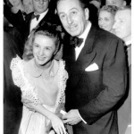 Walt Disney with Kathryn Beaumont at the Alice Premiere